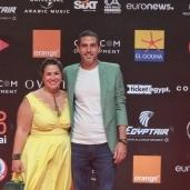 إنجي وجدان برفقة زوجها على السجادة الحمراء لمهرجان الجونة السينمائي