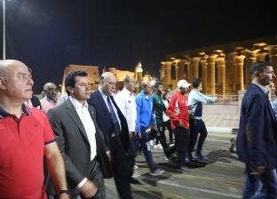 بالصور| وزير الرياضة يقود مسيرة للمشي في الأقصر بمشاركة 900 شاب