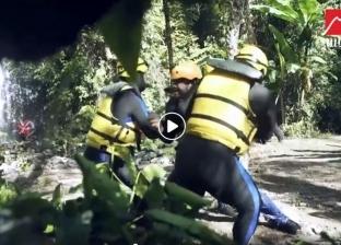 """بالفيديو  مصطفى حجاج يهرب من غوريلا """"رامز في الشلال"""""""