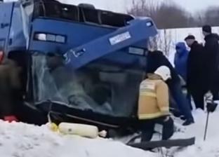 بالفيديو| قتلى وجرحى إثر حادث مروع في روسيا
