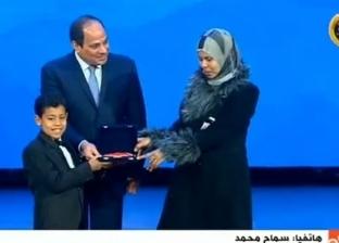 """أرملة الشهيد محمد إسماعيل: """"السيسي متواضع.. وتكريمه رفع معنوياتنا"""""""