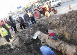 """بالصور  إصلاح كسر خط المياه الرئيسي """"ميت غمر - المنصورة"""""""