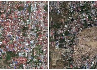 بالفيديو| لحظة تدمير زلزال لمنطقتين في أندونيسيا