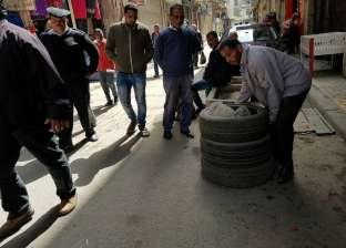 حملة بوسط الإسكندرية لإزالة الكتل الخرسانية والحديدية