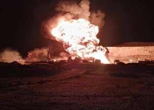 عاجل  حريق هائل في أحد آبار البترول برأس سدر