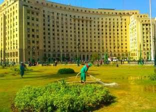 حملة لإزالة الباعة الجائلين وتهذيب المسطحات الخضراء بميدان التحرير