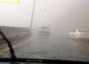 """سقوط أمطار غزيرة على طريق """"الزعفرانة - رأس غارب"""""""