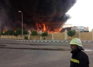 صور| إصابة 4 في حريق هائل بمصنع أدوات مدرسية بمدينة بدر