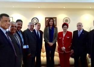 وفد الجاليات المصرية بالخارج يهنئ السفيرة نبيلة مكرم بتجديد الثقة