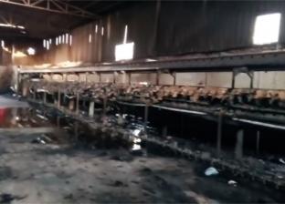 حريق يلتهم مصنع غزل ونسيج في الهرم