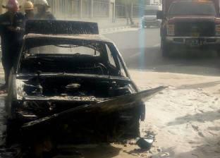 بالصور| احتراق سيارة ملاكي بالقرب من وزارة الطيران بسبب الحر