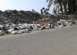 """تلال القمامة تحاصر طريق """"جرجا– العسيرات"""" في سوهاج"""