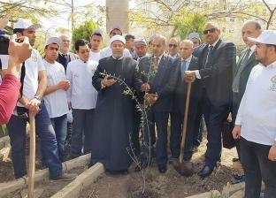"""المحرصاوي يدشن """"هنجملها"""" لزراعة أشجار مثمرة في جامعة الأزهر"""