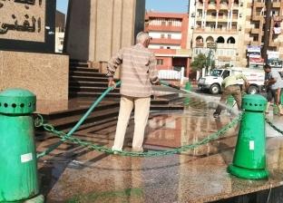 حملات تنظيف وتجميل وإزالة إشغالات بميادين أسيوط