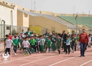 تشجيع بالأعلام والهتافات قبل مباراة المصري وسيمبا باستاد المصري