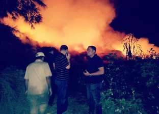 صور.. السيطرة على حريق 700 طن قش أرز في بيلا