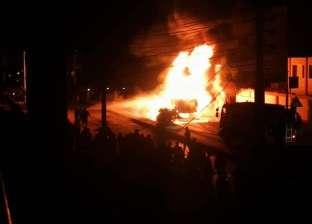 حريق في سيارة «بنزين» أمام مستشفى «الداخلة» في الوادي الجديد