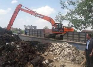 بالصور| إزالة التعديات على نهر النيل بالزرقا