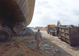 رفع 720 طنا من مخلفات القمامة أسفل كوبري 45 الدولي بالإسكندرية