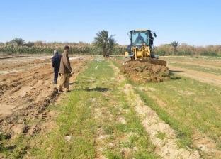 مركز الخارجة يزيل زراعات تروى بمياه الصرف الصحي