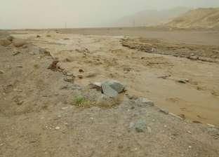 بالصور  سيول تضرب وادي فيران بمدينة أبورديس.. وإغلاق طرق سانت كاترين