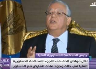 """رئيس """"الدستورية العليا"""": المحكمة تحامي الدستور وتراقب القوانين"""