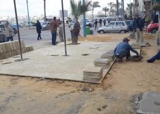 إصلاح هبوط أرضي بحي الجمرك في الإسكندرية