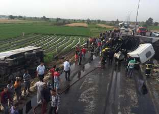 مصرع عامل وإصابة 3 أشخاص في حادث بين 3 مركبات على طريق المنصورة – أجا