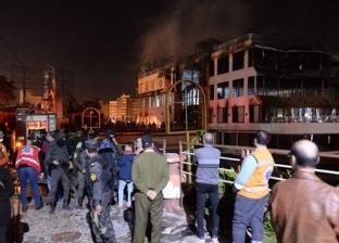 بالصور| حريق هائل في مطعم ومركب عائم على النيل بالمنصورة