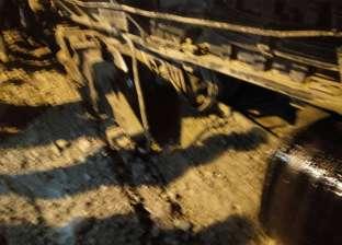 خروج جرار عن القضبان بجراج قطارات المنصورة