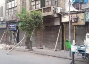 """""""المرور"""" يغلق شارع الأزهر جزئيا بسبب العقار المنهار"""