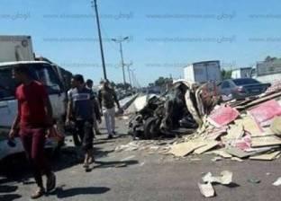 إصابة 6 في تصادم سيارة نقل مع ميكروباص بقرية بالوظة بشمال سيناء