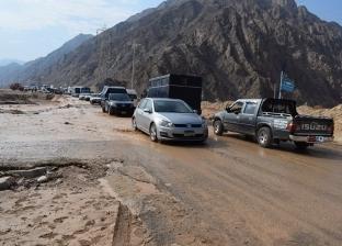 بالصور| إعادة فتح الطريق الدولي بمدينة نويبع أمام حركة المرور