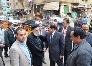 بالصور| محافظ الغربية يتفقد الحالة الأمنية لكنائس طنطا