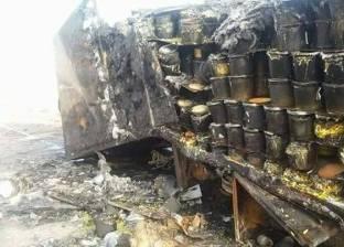 تفحم سيارة نقل ثقيل غرب مطروح خلال توجهها إلى ليبيا