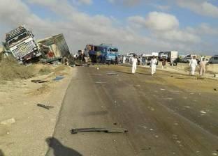 إصابة سائق مقطورة اصطدمت سيارته بحاجز خرساني في الإسكندرية