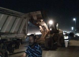 إعادة فتح الطريق الدائري عقب تعطله لانقلاب سيارة نقل بشبرا