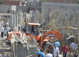 إزالة الخرسانات بأحد الأبراج المخالفة على الأراضي الزراعية بكفر الشيخ