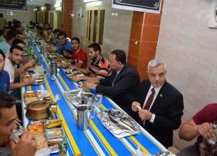 قيادات جامعة المنوفية على مائدة إفطار المدينة الجامعية بكلية الهندسة