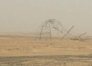 سقوط 4 أبراج ضغط عالي بطريق أبو سمبل بسبب العاصفة الترابية في أسوان