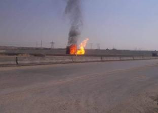 """بالفيديو.. حريق بخط غاز على طريق """"القطامية – العين السخنة"""""""