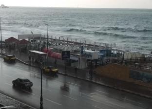 هطول أمطار بالإسكندرية بعد اعتدال حالة الطقس صباحا