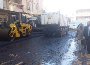 بالصور| رئيس مدينة كفر الشيخ يتفقد الرصف بتقسيم المحاربين الجديد