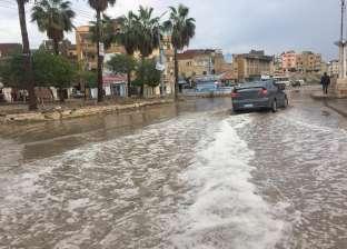 بالصور| تراكم المياه بمدن كفرالشيخ يعيق الحركة.. والمرور تحذر السائقين