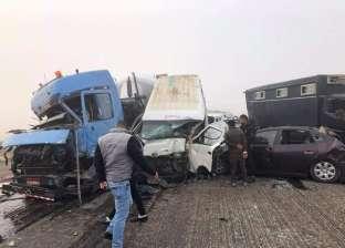 شهود عيان بحادث صحراوي بني سويف: شبورة كثيفة بالطريق أحجبت الرؤية