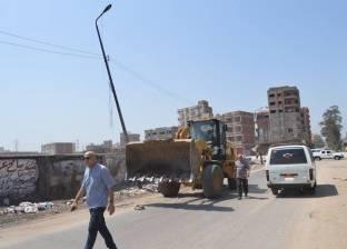 بالصور| رئيس المحلة يباشر رفع النظافة بطريقي شركة النصر ومحلة أبو علي