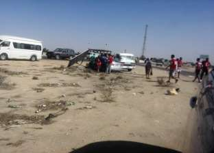 مصرع سيدة وإصابة 17 في حادث مروع على صحراوي المنيا لسوء الطقس