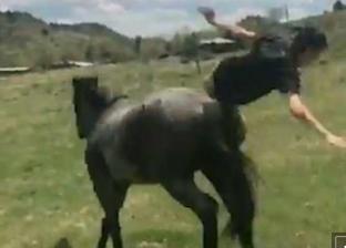 بالفيديو والصور| مشهد مضحك لسقوط شاب من ظهر حصان