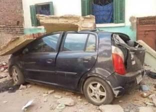 سقوط بلكونة منزل على سيارة ملاكي دون حدوث إصابات في الغربية