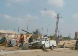 انقلاب سيارة تحمل أدوات منزلية في شمال سيناء